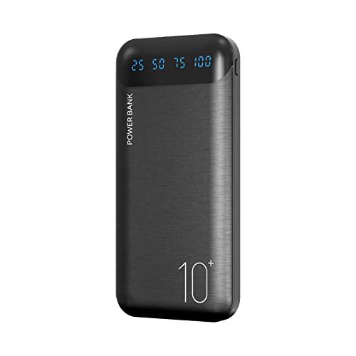 Power Bank 10000mAh Handy Tragbares Ladegerät Externer Akku Pack mit 2 USB 2.4A Ausgängen und USB C Eingang Kompatibel für Huawei iPhone 12 11 X iPad Samsung Galaxy S20 Android Tablette Mehr