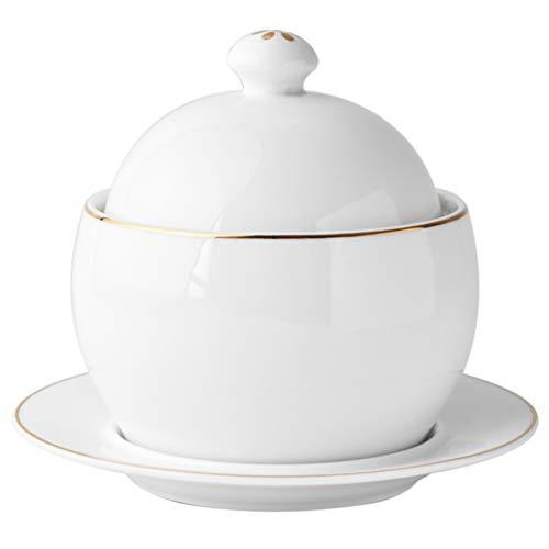Angoily 1 Set Kleine Keramik Eintopf Topf mit Deckel Dampf Suppe Schüssel Dampfenden Tassen für Home Küche Egg Custard Heilkräuter Vögel Nest Tonic