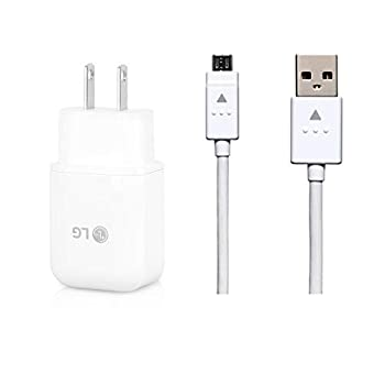 Genuine LG Quick Wall Charger + Micro USB Cable for LG G3 / G4 / Stylo 3 / V10 / K10 / Tribute/X Style - 100% Original - Bulk Packaging