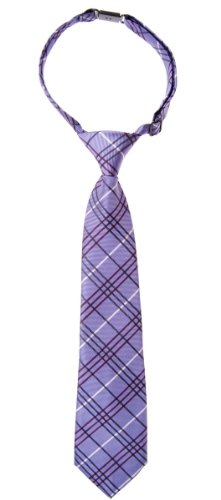 Retreez Tartan Plaid Styles Woven Microfiber Pre-tied Boy's Tie - Purple - 24 months - 4 years