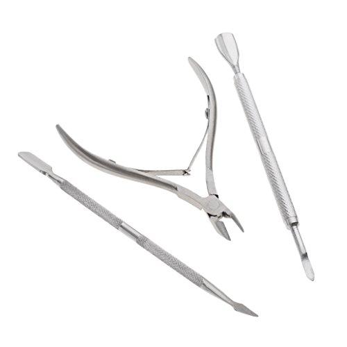 MagiDeal 3x Pince à Cuticules Ongles en Inox Tranchant - Coupe Cuticule - Pousse Poussoir Cuticules Peaux Mortes des Ongles - Outil Nail Art Manucue Pédicure