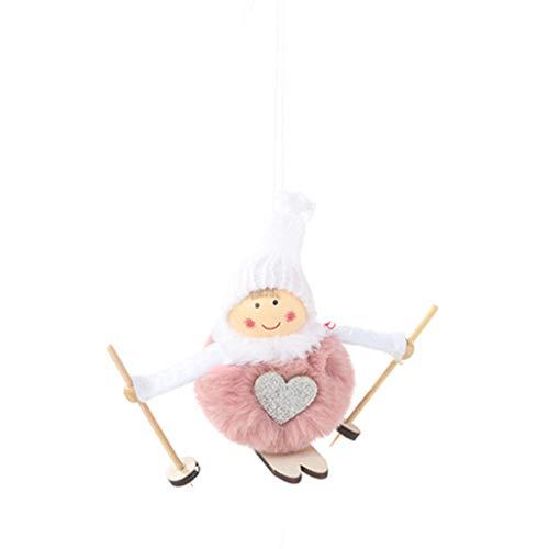 Tancyechy Cute Angel Plush Doll Christmas Decoration Pendant Christmas Tree Ornaments Christmas Ski Doll Pink