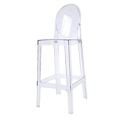 2xhome Transparent ghost bar stool, 30 inches, Clear,1 piece
