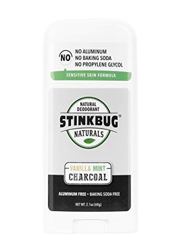 Natural Organic Deodorant Stick with Vanilla and Mint, Coconut Oil and Activated Charcoal, Aluminum Free Deodorant by Stinkbug Naturals, 2.1 Ounce