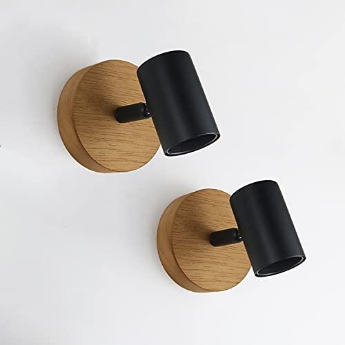 Ketom 2x Faretti da Parete E27 Ruotabile di 350 ° e Regolabile di 90 ° Lampada da Soffitto Wood Nero Luci da Soffitto E27 per Camera da Letto Soggiorno Tavolo da Corridoio Max 50W (Senza Lampadine)