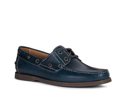 Geox Herren SlipperMokassins U Juarez, Männer Slipper, schlupfhalbschuh Slip-on College Schuh Loafer businessschuh Herren Maenner,BLAU,41 EU / 7 UK