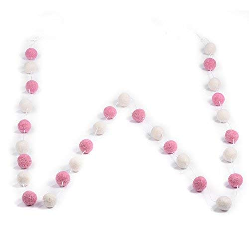 Filzbälle - Multi-Color Handmade Wollfilz Ball, Girlanden Wandbehang Party, Kinderzimmer, Kinderzimmer Dekor, 2m 30pcs (Color : White+Pink)