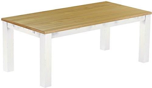 Brasilmöbel Esstisch Rio Classico 200x100 cm Brasil Weiß Massivholz Pinie Holz Esszimmertisch Echtholz Größe und Farbe wählbar ausziehbar vorgerichtet für Ansteckplatten