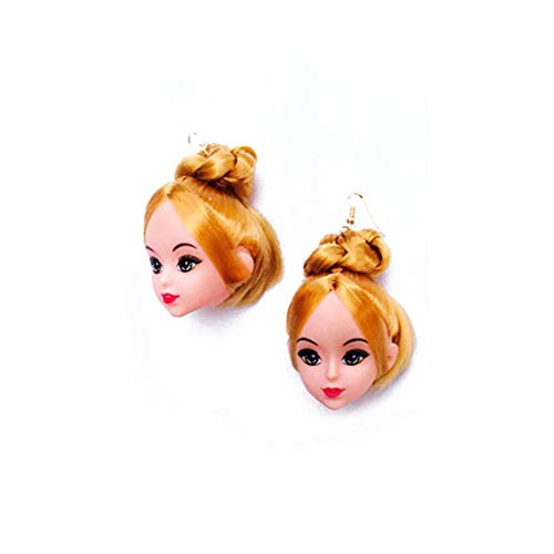 MYBOON Creative Yellow Hair Doll Head Toy Pendientes Colgantes Joyería de Moda para Mujeres niñas, Pendientes de Moda, B