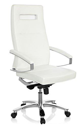 hjh OFFICE 660933 Profi Chefsessel PALANGA Leder Weiß/Chrom hochwertiger Drehstuhl Bürostuhl mit hoher Rückenlehne