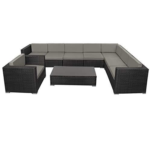 Montafox 24-teilige Polyrattan Lounge 8 Personen Gartenmöbel Ecklounge Ecksofa Beistelltisch Sessel Balkon Terrasse Gartengarnitur Schwarz, Farbe:Kieselstrand