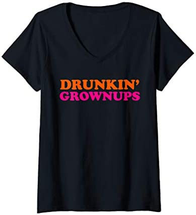 Womens Drunken Grownups Funny Women And Men Drinking Gifts V Neck T Shirt product image