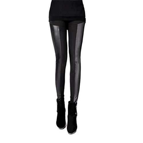 ERLIZHINIAN Herbst-Winter-warme Frauen Patchwork Stitching Elastic Leatherette Leggings Stretchy dünne Dame-Bleistift-Schwarz-Leder-Gamaschen (Color : C, Size : One Size)