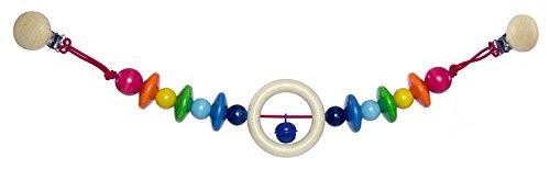 Hess Holzspielzeug 12998 - Wagenkette aus Holz, Serie Kim, für Babys ab 3 Monaten, handgefertigt, mit 2 Sicherheitsclips, Länge ca. 52 cm, für Kinderwagen und Babyschale