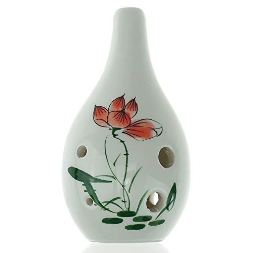"Hand Painting""Lotus"" 6 Hole Ocarina,Alto C,Glazed Ceramic,Beautiful Design,Water Drop Style by OcarinaWind"