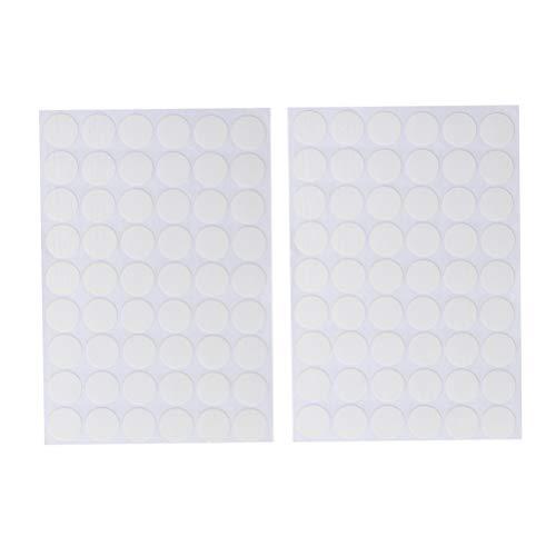 DOITOOL Tapa adhesiva de rosca Taladros de tornillo Pegatinas Muebles gabinete Tapa de rosca Tapas para oficina en el hogar 2 hojas (54 piezas por hoja) blanco