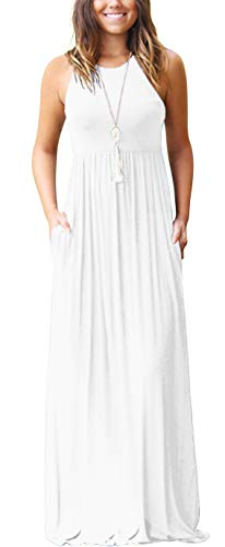 GRECERELLE Women's Sleeveless Racerback Loose Plain Maxi Dresses Casual Long Dresses with Pockets White-Large