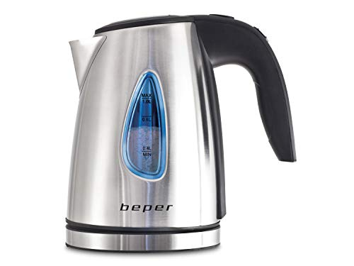 BEPER Hervidor de Agua eléctrico, Acero, Gris/Negro, 12 X 19 X 17 Cm
