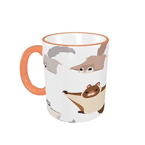 Taza de café con diseño de murciélago, Lindas y Divertidas Ardillas voladoras, Tazas de café, Tazas de cerámica con Asas para Bebidas Calientes, té, café, Regalos, 12 oz Pink