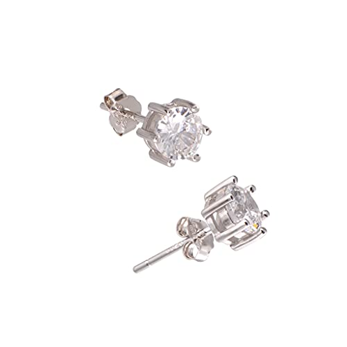 White Gold Plated Sterling Silver Cubic Zirconia Carat Diamond Studs Earrings, Friction Backs