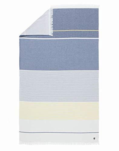 Marc O Polo Lawa Hammam Asciugamani da bagno, Premium Yarn Dyed Cotone Terry Reverse, Blue, 100 cm x 180 cm