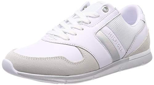 Tommy Hilfiger Iridescent Light Sneaker, Zapatillas para Mujer, Blanco (White/Silver 902), 37 EU