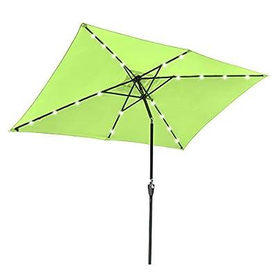 Yescom 10x6.5ft Outdoor Rectangle Solar Powered LED Patio Umbrella with Crank Tilt for Garden Backyard Table Market Pool