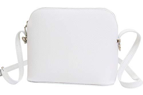 AMBRA Moda Italienische Ledertasche Damen Handtasche Umhängetasche Schultertasche Leder Tasche klein GL018 (Weiß)