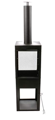 BBQ Collection Stabiler Feuerkorb Höhe ca. 194 cm, mit Funkenschutz Metallgitter für den Garten,Fronttür, Terrassenkamin mit Rauchabzug, Metall