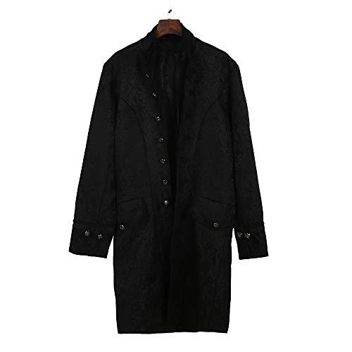 Herren Mantel Smoking Stehkragen Drucken Übergangsjacke Frack Jacke Gothic Gehrock Cargo Uniform Kostüm Langjacke Party Oberbekleidung, Schwarz, Large