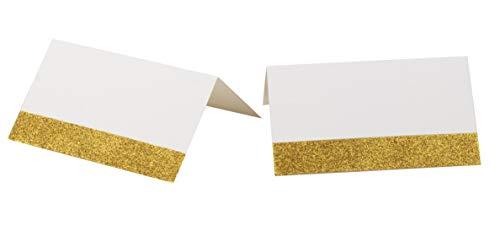 100 stuks plaatskaarten - kleine tentkaarten met metalen glitterontwerp, glinsterende afwerking, perfect voor verjaardagsfeest, bruilofttafels, formele banketten, evenementen, wit, gevouwen 2 x 3,5 inch