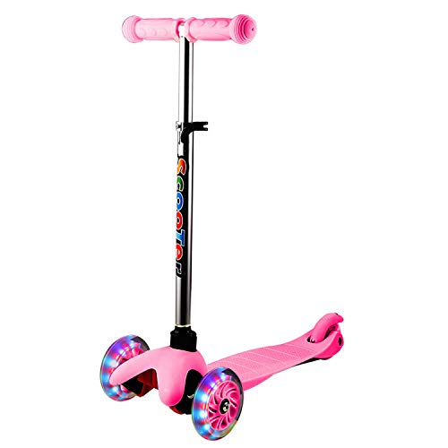 WeSkate Scooters for Kids, 3 Wheel Scooter for Boys & Girls, Kick Scooter for Kids Ages 2-6, with Light Up Wheels, 4 Adjustable Height