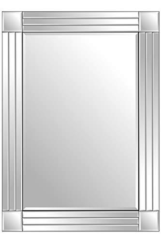 Cottonage Espejo de Pared Veneciano con Triple Biselado, 100 cm x 70 cm, Color Plateado