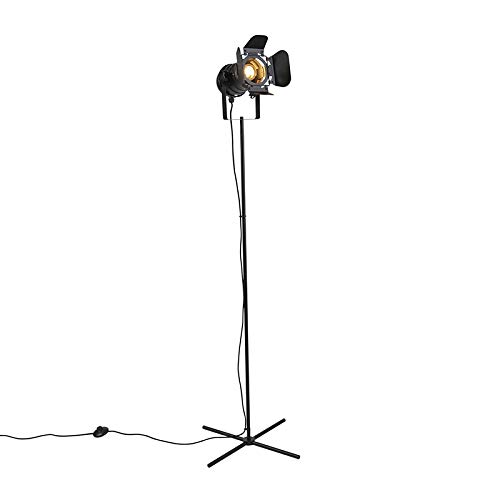 QAZQA Industrieel Industriele studio vloerlamp zwart met kleppen - Movie Metaal Langwerpig Geschikt voor LED Max. 1 x 60 Watt