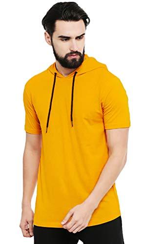 Leotude Regular Fit Half Sleeve T Shirt with Hood for Men (Color: Mustard, Size: L)