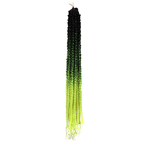 XCCOCO 1Pack Pre-Twisted Passion Twist Hair 20inch Prelooped Spring Twist Crochet Hair with Curly Ends Fluffy Twist Synthetic Ombre Green Braiding Hair Extensions(80g/pack,1b/Green)