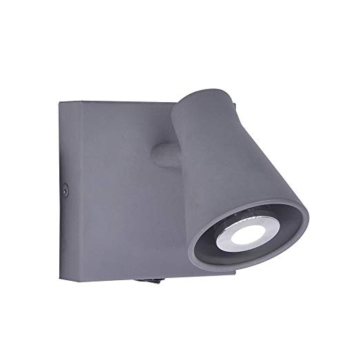 Artpad - Foco de pared gris 350 ° giratorio, GU10 - Aplique de metal con interruptor de botón para lectura, imagen, sala de estar junto a la cama AC220V