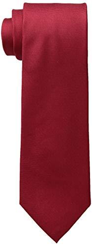 Calvin Klein Men's Silver Spun Solid Tie, Red, Regular