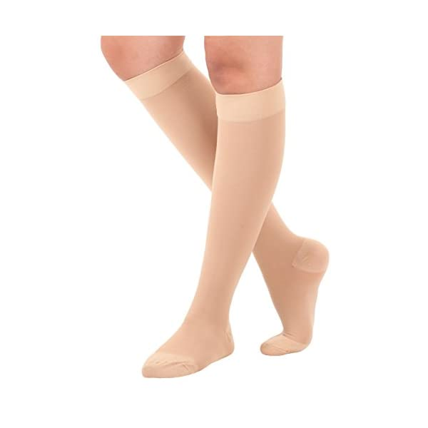 Made in USA Opaque Compression Socks Knee-Hi Closed Toe Support Hose 20-30mmHg