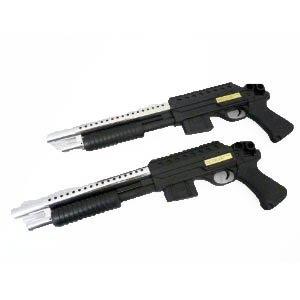 Nick and Ben Einsteiger Softair-Gewehr Pumpgun im 2er-Set Airsoft Shotgun Doppelpack Schüttmagazin Federdruck schwarz Silber unter 0,5 Joule ab 14 Jahre 6 mm