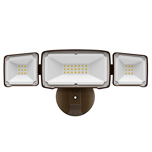 Amico 3500LM LED Security Light, 30W Outdoor Flood Light, ETL- Certified, 5000K, IP65 Waterproof, 3 Adjustable Heads for Garage, Patio, Garden, Porch&Stair
