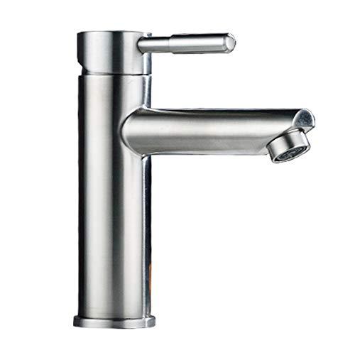 HUIJIN1 SUS 304 Edelstahl-Badezimmerspülbecken Wasserhahn, gebürsteter Nickel-Beckenmischer mit Einem einzigen Griff Wasserversorgungsschläuche, für Bad Hotel Villa