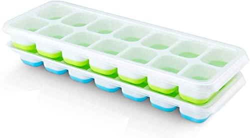 Amazon Brand – Umi - Eiswürfelform aus Silikon mit Deckel, 2 Stück blau/grün, stapelbar, leichte Entnahme
