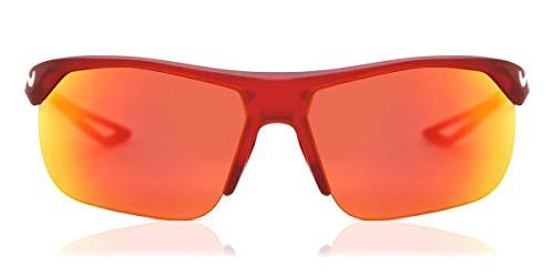 Nike EV1064-616 Trainer S M Gafas de sol mate Universidad rojo/blanco, color gris con lente de espejo rojo tintado
