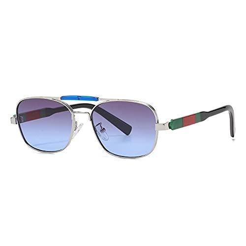 FENGHUAN Moda Cool Square Pilot Style Gafas de sol de doble haz Hombres Vintage GradientSun Glasses C4
