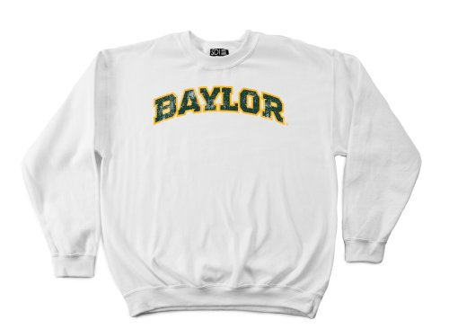 NCAA Baylor Bears 50/50 Blended 8-Ounce Vintage Arch Crewneck Sweatshirt, Small, White