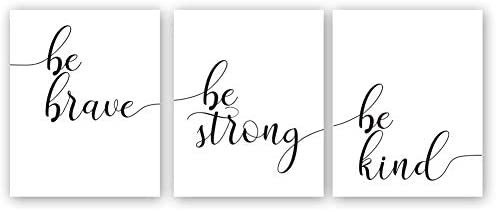 Inspirational Quotes Art Print Be Brave Be Strong Be Kind Motivational Phrase Canvas Painting product image