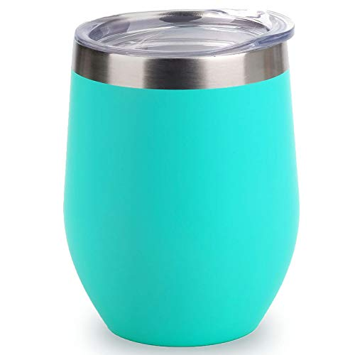 SUNWILL Vacuum Insulated Wine Tumbler with Lid (Teal), Stemless...