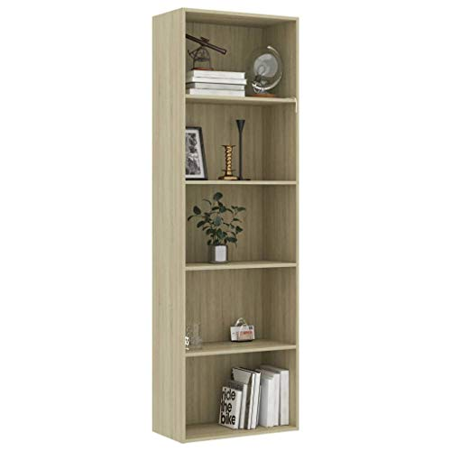 Tidyard 5-Tier Book Cabinet | Chipboard Display Shelves | Free Standing Bookcase | for Home Office | Sonoma Oak 60x30x189 cm