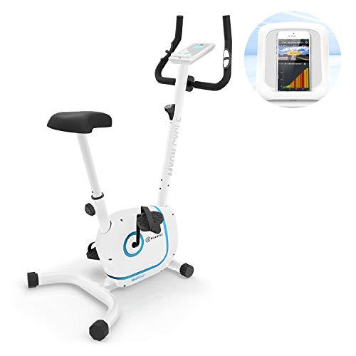 KLAR FIT Myon Cycle Bicicleta estática - Volante de inercia de 12kg, Tracción por Correa con tecnología Silent Belt, 8 Niveles, Pulsómetro, Altura Regulable, Soporte para Tablet, Blanco